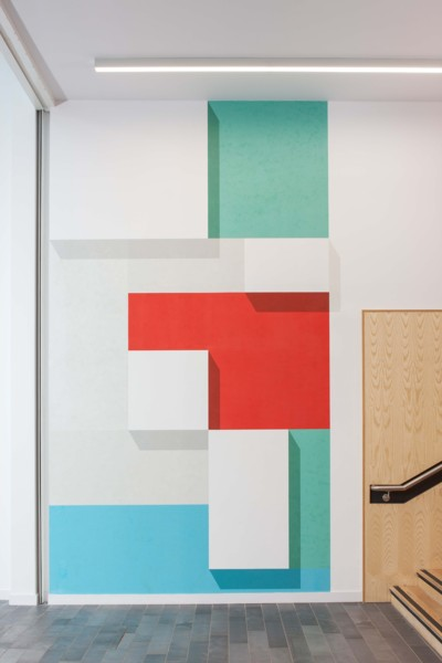New Conjunction, 2015, Acrylic and emulsion on wall, Dimensions variable, Commission for Glasgow Caledonian University, George Moore Building, 2016