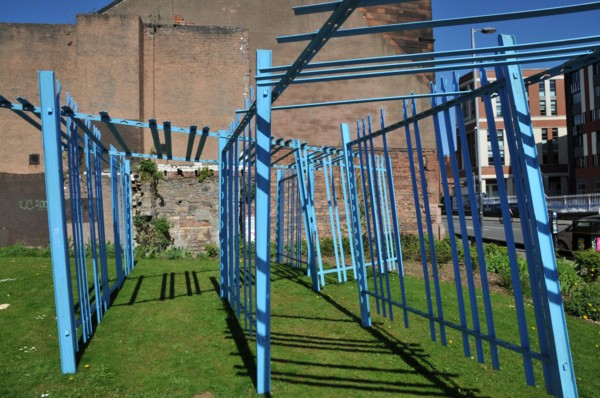 Palisades, 2018, Painted steel, Installation view 'Against Time', Civic Room, Glasgow (As part of Glasgow International 2018)
