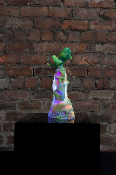 Agitate Stone, 2020, Resin, pigment, LED, perspex, Sculpture: 31 x 13 x 11 cm, 12 1/4 x 5 1/8 x 4 3/8 in, Plinth: 30 x 30 x 30 cm, 11 4/5 x 11 4/5 x 11 4/5 in