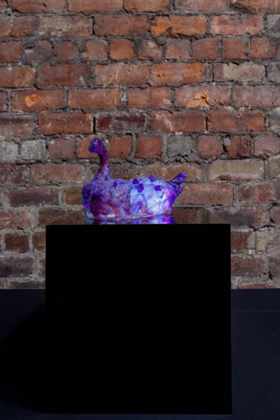 Sleepy Duck, 2020, Resin, pigment, LED, perspex, Sculpture: 15 x 30 x 14 cm, 5 7/8 x 11 3/4 x 5 1/2 in, Plinth: 30 x 30 x 30 cm, 11 4/5 x 11 4/5 x 11 4/5 in