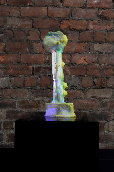 Slow Yellow, 2020, Resin, pigment, LED, perspex, Sculpture: 38 x 14 x 8.5 cm, 15 x 5 1/2 x 3 3/8 in, Plinth: 30 x 30 x 30 cm, 11 4/5 x 11 4/5 x 11 4/5 in