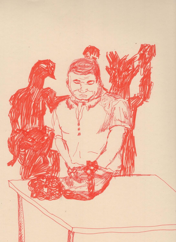 Pressure, 2020, Ink on paper, 22.9 x 30.5 cm, 9 x 12 in