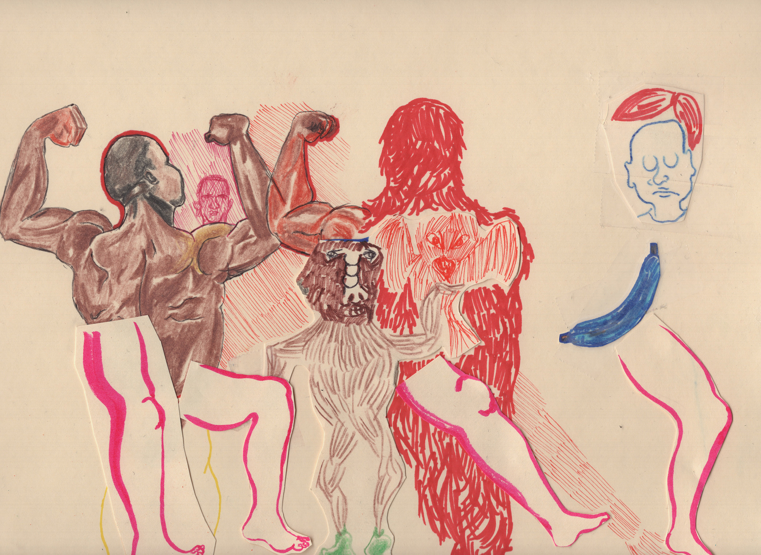 Show Muscle, 2020, Colour pencil, collage, marker, graphite, scotch tape, and double sided tape on paper, 22.9 x 30.5 cm, 9 x 12 in