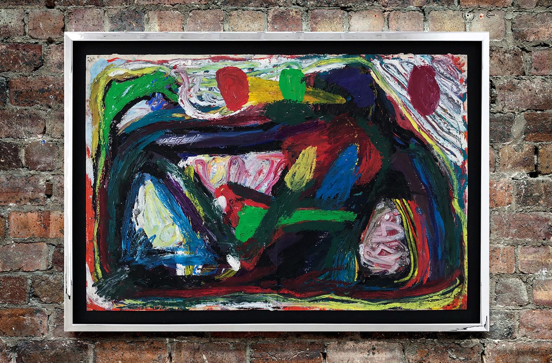 Spencer Sweeney <br> Sphynx, 2018 <br> Oil pastel on paper <br> 70.6 x 100.5 x 3.4 cm <br> 27.8 x 39.6 x 1.3 in<br>