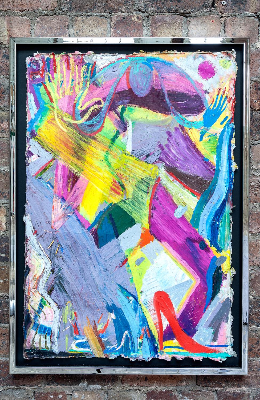 Spencer Sweeney <br> MAYA, 2019 <br> Oil pastel on paper <br> 104.6 x 74 x 3.4 cm <br> 41.2 x 29.1 x 1.3 in <br>