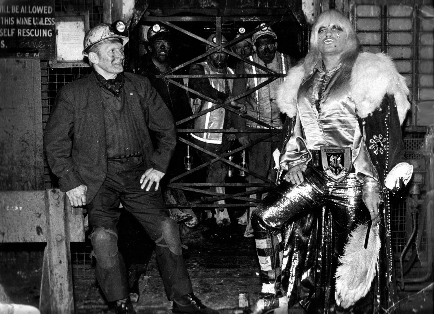 Adrian Street with his father at the pithead of Bryn Mawr Colliery, Wales, 1973