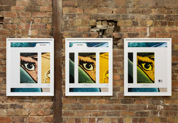 Anne Collier, Filter #2 (Triptych/Yellow), 2020, C-print, Three parts, 93.7 x 76.6 x 4.5 cm, 36 7/8 x 30 1/8 x 1 3/4 in each framed, Edition of 5