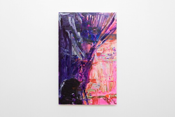 Pinkest Mesh War, 2020, Acrylic on gesso board, 100 x 63 x 3 cm