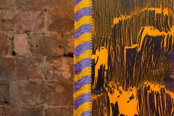 Scab Diagram (Traditional Object), 2020, (Detail), Acrylic on canvas, wood, fringe, 203.2 x 231.1 cm, 80 x 91 in, Installation view, 'Scab Diagram', The Modern Institute, Bricks Space, Glasgow, 2021