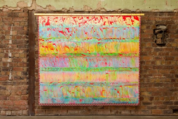 Scab Diagram (Traditional Object), 2020, (Detail), Acrylic on canvas, wood, fringe, 190.5 x 228.6 cm, 75 x 90 in, Installation view, 'Scab Diagram', The Modern Institute, Bricks Space, Glasgow, 2021