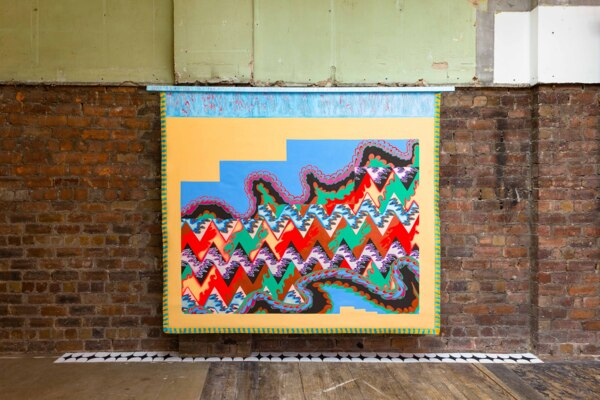 Scab Diagram (Traditional Object), 2020, Acrylic on canvas, wood, fringe, 194.3 x 238.8 cm, 76 1/2 x 94 in, Installation view, 'Scab Diagram', The Modern Institute, Bricks Space, Glasgow, 2021