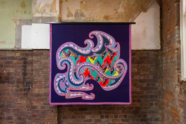 Scab Diagram (Traditional Object), 2020, Acrylic on canvas, wood, fringe, 188 x 207 cm, 74 x 81 1/2 in, Installation view, 'Scab Diagram' The Modern Institute, Bricks Space, Glasgow, 2021