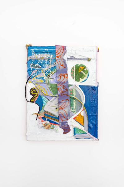 Rachel Eulena Williams, Starline, 2021, Acrylic, dye on canvas, rope on wood panel, 130 x 99 x 9 cm, 51 1/8 x 39 x 3 1/2 in, Installation view 'Silk Cotton Snow' The Modern Institute, Osborne Street, Glasgow, 2021