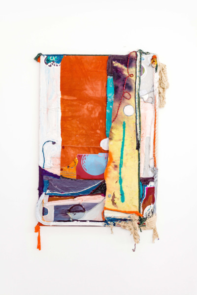 Rachel Eulena Williams, Dawn, 2021, Silkscreen on card, dye and acrylic paint on panel, canvas and cotton rope, 188 x 120 x 15 cm, 74 1/8 x 47 1/4 x 5 7/8 in, Installation view 'Silk Cotton Snow', The Modern Institute, Osborne Street, Glasgow, 2021