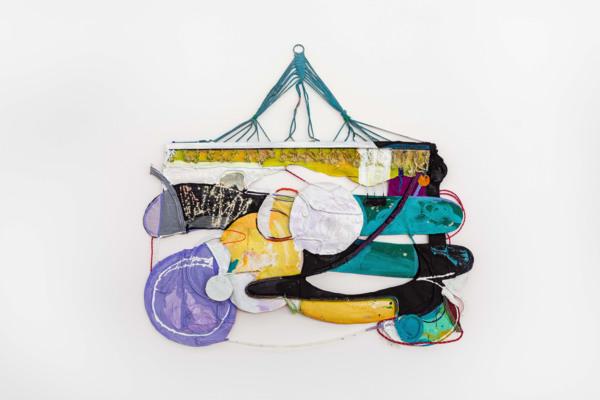 Rachel Eulena Williams, Dark Clay, 2021, Acrylic paint and dye on hammock, canvas and cotton rope, 171 x 188 x 6 cm, 67 3/8 x 74 1/8 x 2 3/8 in, Installation view, 'Silk Cotton Snow', The Modern Institute, Osborne Street, Glasgow, 2021