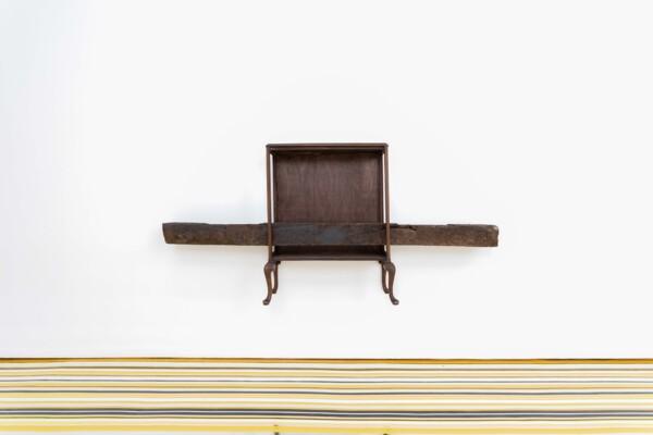 Wood Beez, 2021, Display cabinet, railway sleeper, 260.5 x 118 x 43 cm
