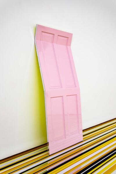 Pink Moon, 2021, Wooden door, acrylic mirror, automotive paint, 189.5 x 76.5 x 38 cm