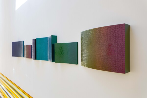 Horizon (Goldfinch), 2021, Found jigsaw, MDF, automative paint, Installed dimensions: 50 x 377.5 x 18 cm, 19 3/4 x 148 5/8 x 7 1/8 in