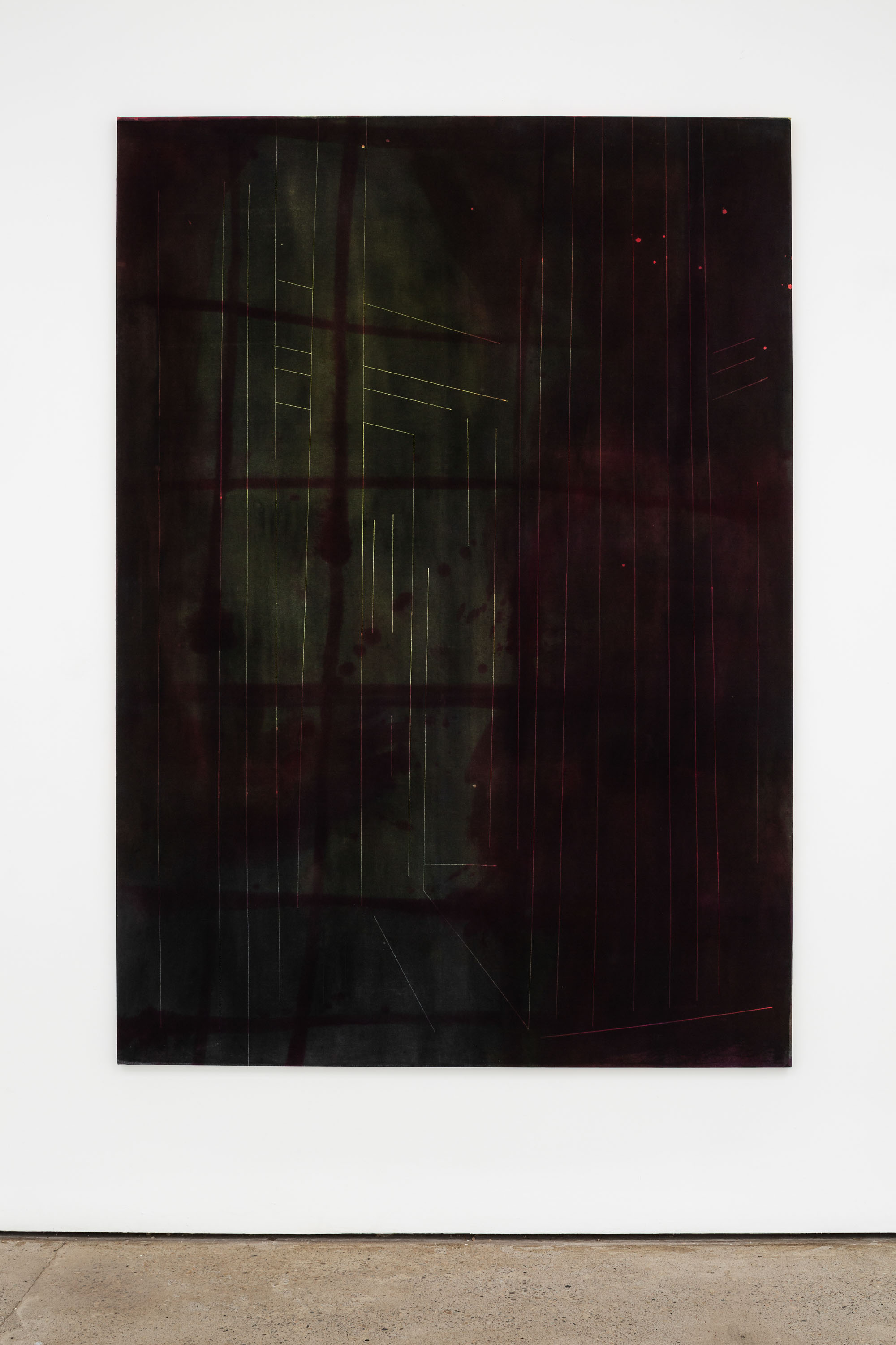 The Way In, 2021, Wax resist, dyed waxed calico, 225 x 160 x 2.5 cm, 88 5/8 x 63 x 1 in