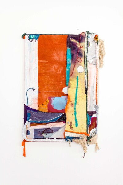 Dawn, 2021, Silkscreen on card, dye and acrylic paint on panel, canvas and cotton rope, 188 x 120 x 15 cm, 74 1/8 x 47 1/4 x 5 7/8 in