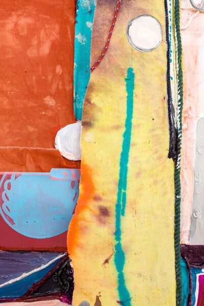 Dawn, 2021 (detail), Silkscreen on card, dye and acrylic paint on panel, canvas and cotton rope, 188 x 120 x 15 cm, 74 1/8 x 47 1/4 x 5 7/8 in