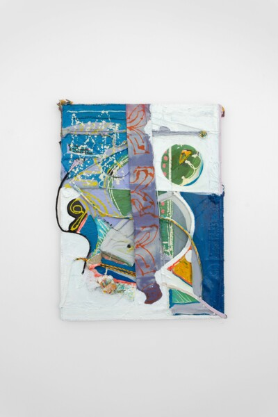 Starline, 2021, Acrylic, dye on canvas, rope on wood panel, 130 x 99 x 9 cm, 51 1/8 x 39 x 3 1/2 in