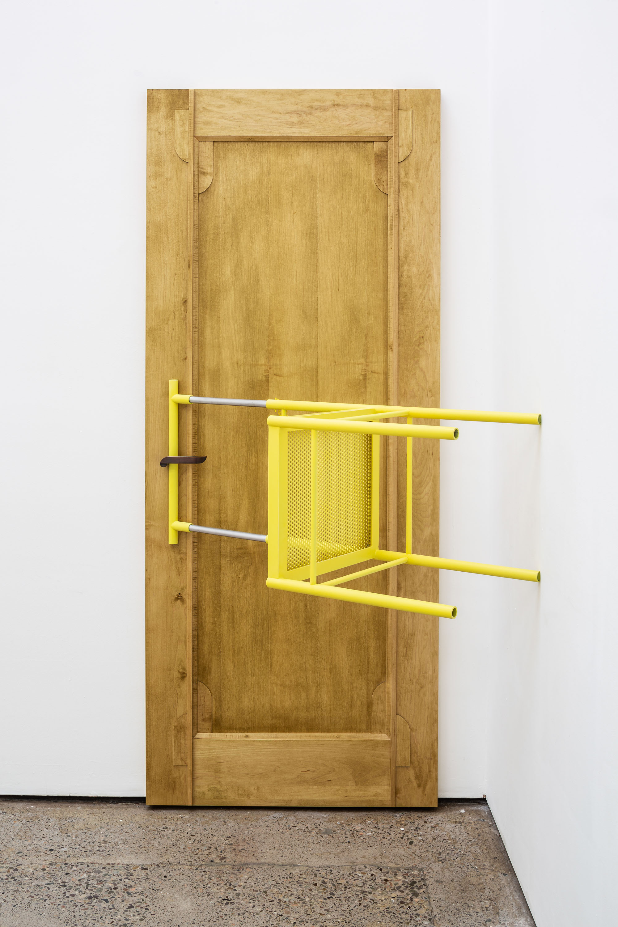 On the Wrong Side of Right, 2021, Painted aluminium, perforated aluminium, stained julep wood, brass, 205.5 x 108 x 91 cm